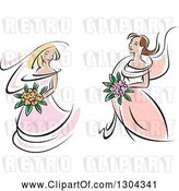 July 21st, 2018: Vector Clip Art of Retro Sketched White Brides in Pink Dresses, Holding Bouquets of Flowers by Vector Tradition SM