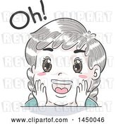 Vector Clip Art of Retro Sketched White Kid Saying Oh in Surprise by BNP Design Studio