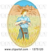Vector Clip Art of Retro Sketched White Male Wheat Farmer Leaning on a Scythe in a Field Within an Oval by Patrimonio