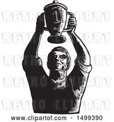 Vector Clip Art of Retro Sketched Worker Holding up Championship Trophy Cup by Patrimonio