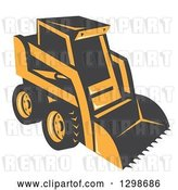 Vector Clip Art of Retro Skid Steer Machine by Patrimonio