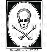 Vector Clip Art of Retro Skull and Crossbones in a Frame by Prawny Vintage