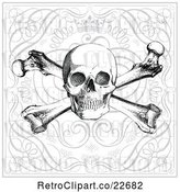 Vector Clip Art of Retro Skull and Crossbones over Swirls and a Crown by BestVector