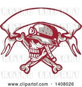 Vector Clip Art of Retro Skull and Crossbones with a Biker Helmet and Blank Banner by Patrimonio