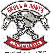 Vector Clip Art of Retro Skull and Crossbones with a Biker Helmet and Text Banners by Patrimonio