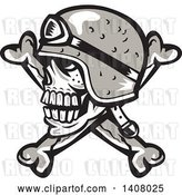 Vector Clip Art of Retro Skull and Crossbones with a Biker Helmet by Patrimonio