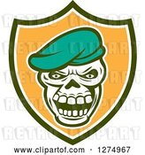 Vector Clip Art of Retro Skull Wearing a Beret Hat in a Green White and Orange Shield by Patrimonio