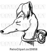 Vector Clip Art of Retro Slender Dog with a Ring on Its Neck by Prawny Vintage