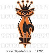 Vector Clip Art of Retro Slim Black Siamese Cat in Silhouette, Wearing a Kings Crown by Andy Nortnik