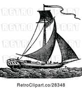 Vector Clip Art of Retro Sloop Sail Boat by Prawny Vintage