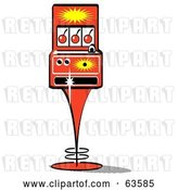 Vector Clip Art of Retro Slot Machine with Three Cherries on the Screen by Andy Nortnik