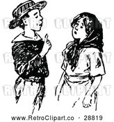 Vector Clip Art of Retro Smart Boy Talking to a Girl by Prawny Vintage