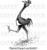Vector Clip Art of Retro Smart Emu Carrying a Book by Prawny Vintage
