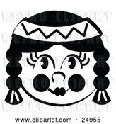 Vector Clip Art of Retro Smiling Native American Indian Girl's Face, Her Hair in Braids, Wearing a Headband by Andy Nortnik