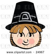 Vector Clip Art of Retro Smiling Pilgrim Boy Wearing a Black Hat by Andy Nortnik