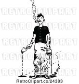 Vector Clip Art of Retro Smoking Messy Painter by Prawny Vintage