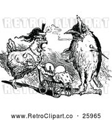 Vector Clip Art of Retro Smoking Owl and Hen Pushing Chicksn in a Pram by Prawny Vintage