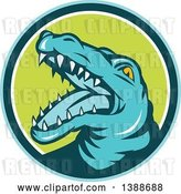 Vector Clip Art of Retro Snapping Alligator or Crocodile in a Blue Teal White and Green Circle by Patrimonio
