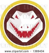Vector Clip Art of Retro Snapping Alligator or Crocodile in a Yellow White and Brown Circle by Patrimonio