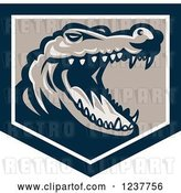 Vector Clip Art of Retro Snapping Crocodile Head in a Shield by Patrimonio