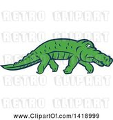 Vector Clip Art of Retro Sneaky Alligator Tip Toeing by Patrimonio