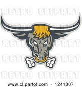 Vector Clip Art of Retro Snorting Bull with a Nose Ring by Patrimonio