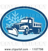 Vector Clip Art of Retro Snow Plow Truck on a Road in a Blue Oval with a Snowflake by Patrimonio