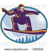 Vector Clip Art of Retro Snowboarder Catching Air over Alpine Trees and Sunshine in an Oval by Patrimonio