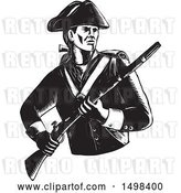 Vector Clip Art of Retro Soldier American Patriot Holding a Musket Rifle by Patrimonio