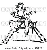 Vector Clip Art of Retro Soldier on a Wooden Horse by Prawny Vintage