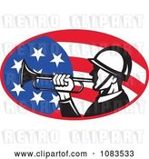 Vector Clip Art of Retro Soldier Playing a Bugle over an American Flag by Patrimonio