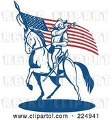 Vector Clip Art of Retro Soldier Playing a Trumpet on Horseback by an American Flag by Patrimonio