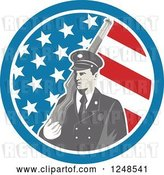 Vector Clip Art of Retro Soldier with a Rifle over His Shoulder in an American Flag Circle by Patrimonio