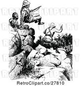 Vector Clip Art of Retro Soldiers Hopping Rocks by Prawny Vintage