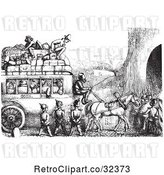 Vector Clip Art of Retro Soldiers Stopping an Omnibus in by Picsburg