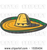 Vector Clip Art of Retro Sombrero Hat, in Style by Vector Tradition SM