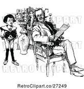Vector Clip Art of Retro Son Watching His Father Read by Prawny Vintage