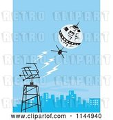 Vector Clip Art of Retro Space Satellite Communicating with a City Dish by Patrimonio