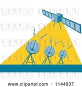 Vector Clip Art of Retro Space Satellite Communicating with Dishes by Patrimonio
