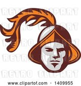 Vector Clip Art of Retro Spanish Conquistador Head with a Plume by Patrimonio