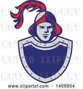 Vector Clip Art of Retro Spanish Conquistador Head with a Plume over a Gray and Blue Shield by Patrimonio