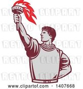 Vector Clip Art of Retro Spanish Conquistador Holding up a Torch by Patrimonio