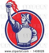 Vector Clip Art of Retro Spanish Conquistador Holding up a Torch, Emerging from a Blue White and Red Circle by Patrimonio