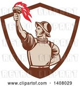 Vector Clip Art of Retro Spanish Conquistador Holding up a Torch, Emerging from a Brown and White Shield by Patrimonio