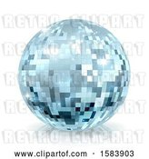 Vector Clip Art of Retro Sparkly Blue Disco Mirror Ball, on a Shaded White Background by AtStockIllustration