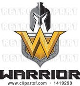 Vector Clip Art of Retro Spartan Helmet over a Shield with a W and Warrior Text by Patrimonio