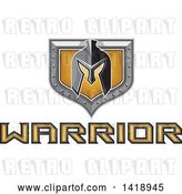 Vector Clip Art of Retro Spartan Helmet over a Silver and Gold Shield and Warrior Text by Patrimonio