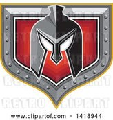 Vector Clip Art of Retro Spartan Helmet over a Silver and Red Shield by Patrimonio