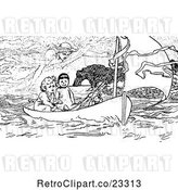 Vector Clip Art of Retro Spirit Above Boys in a Boat by Prawny Vintage