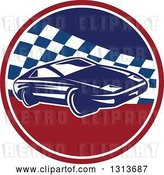 Vector Clip Art of Retro Sports Race Car in a Red White and Blue Checkered Circle by Patrimonio